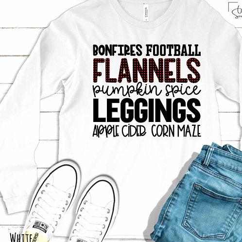 Bonfires Football Flannels Pumpkin Spice Leggings Apple Cider