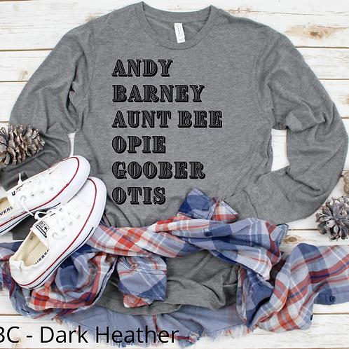 Andy, Barney, Aunt Bee, Opie, Goober, Otis