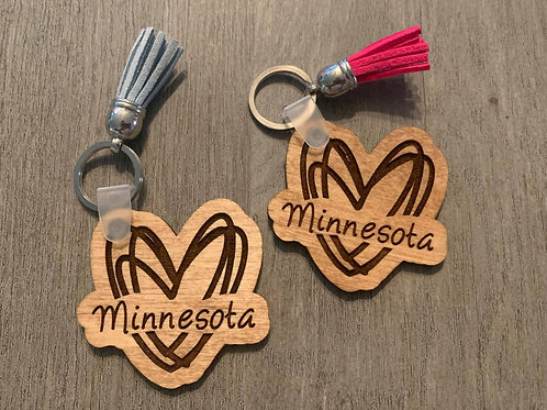 Minnesota Heart Keychain