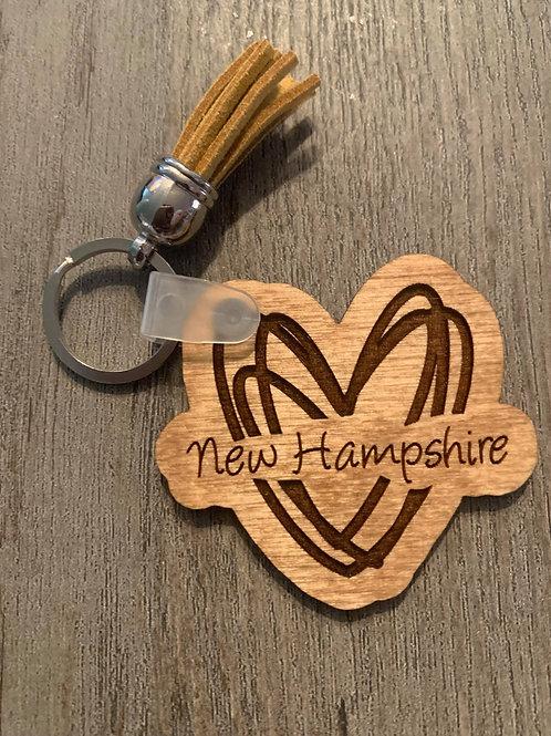 New Hampshire Heart Keychain