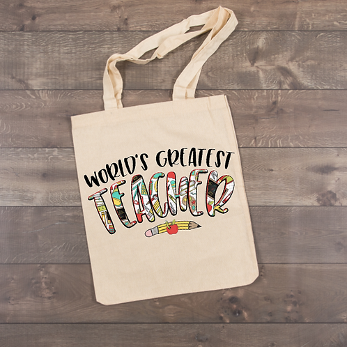 World's Greatest Teacher Tote (sublimation)