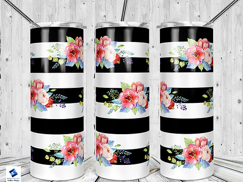 Black Stripes with Flowers