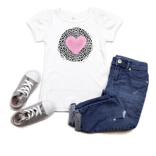 Pink Heart with leopard print background