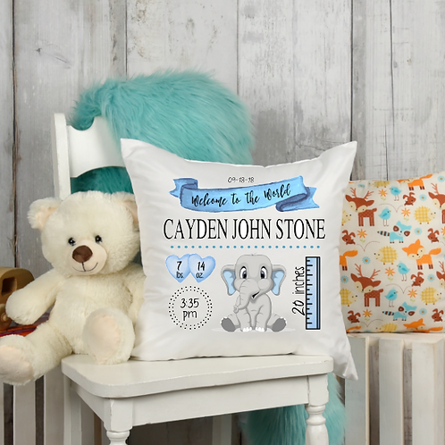 Blue Elephant Birth Stat Pillow Cover