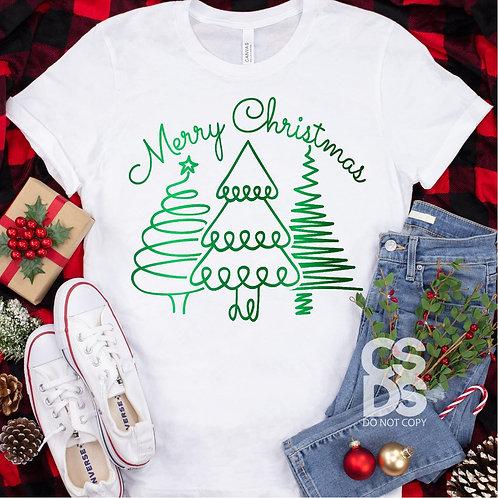 Merry Christmas Green Trees (metallic)