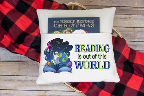 Reading is out of this world pocket pillow cover
