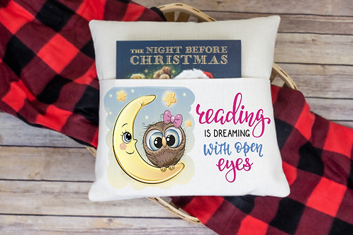 Reading is dreaming (owl) pocket pillow cover