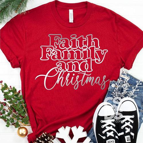 Faith Family and Christmas (silver metallic)