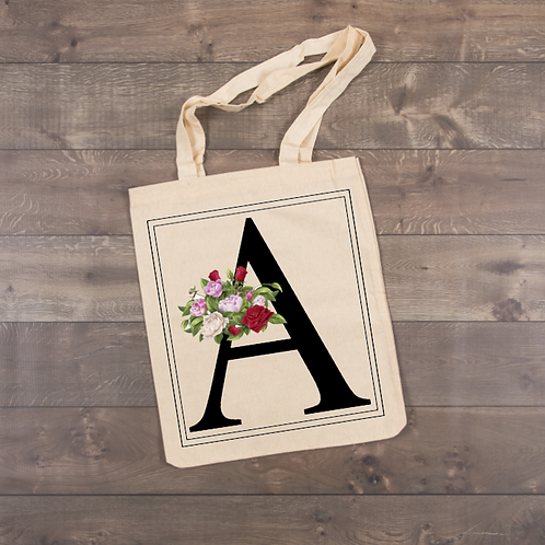 """Rose Flower """"A"""" Tote (sublimation...all letters available)"""