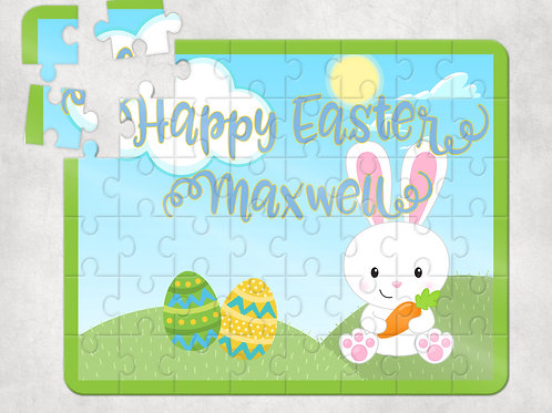 Happy Easter Green Bunny Puzzle