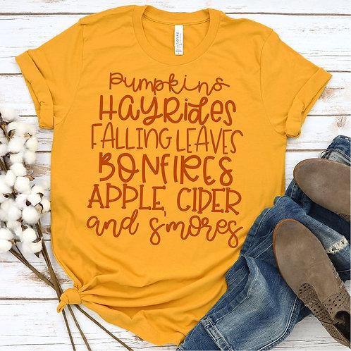 Pumpkins Hayrides Falling Leaves Bonfires Apple Cider and Smores