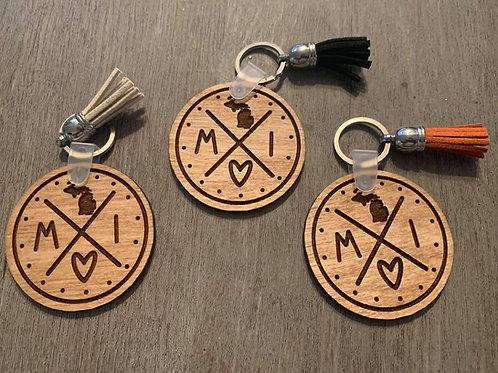 Michigan Circle Keychain