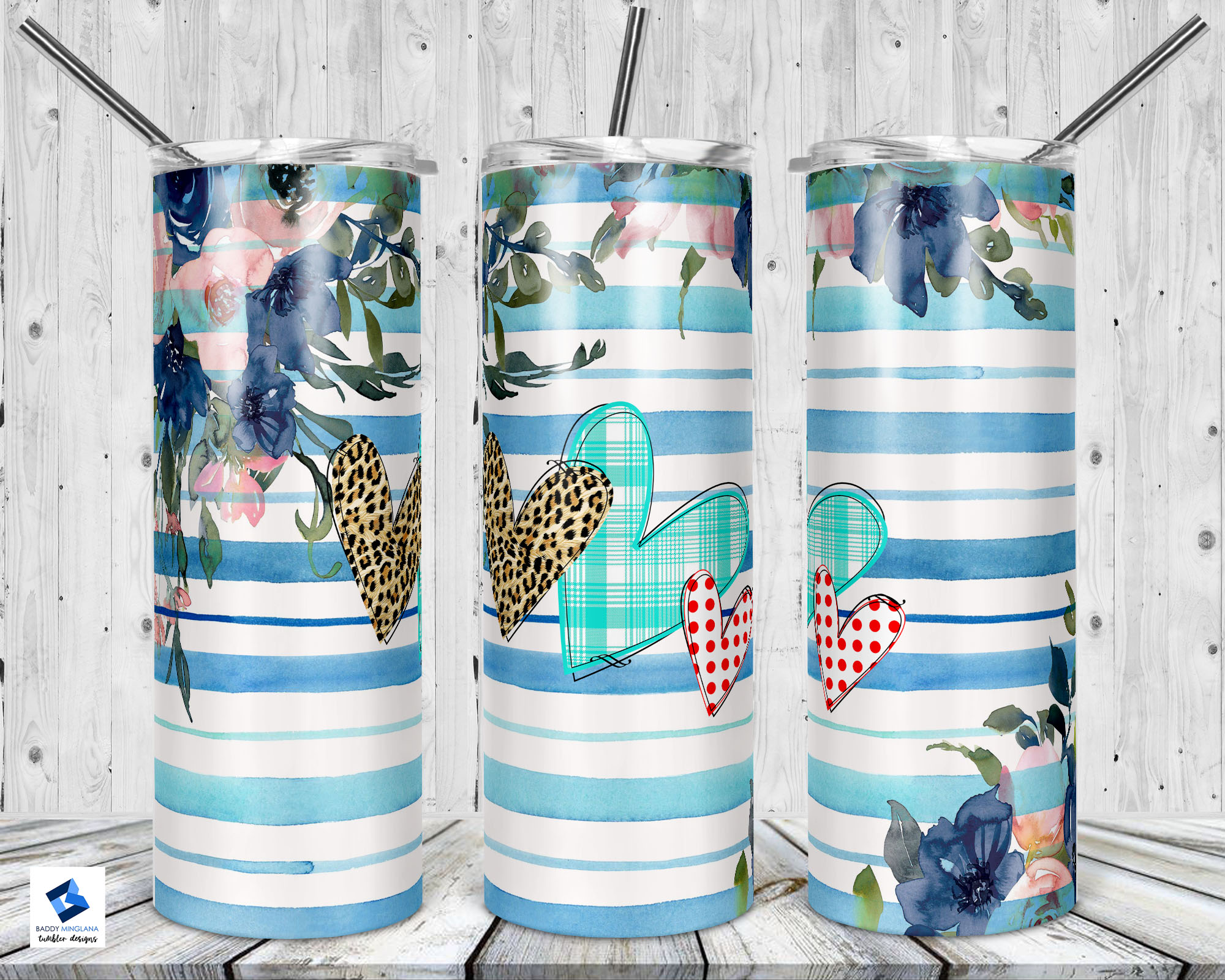 Blue Striped Tumbler with Flowers