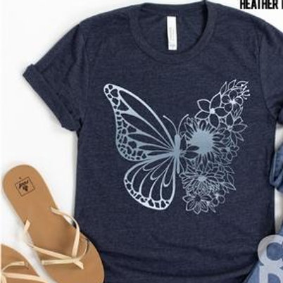 Floral Butterfly (metallic blue ink)