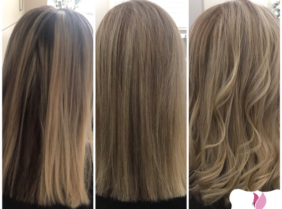 Half head foils with root smudge and toner