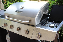 Gas grill on side porch
