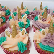 Unicorn cupcakes for a birthday party to