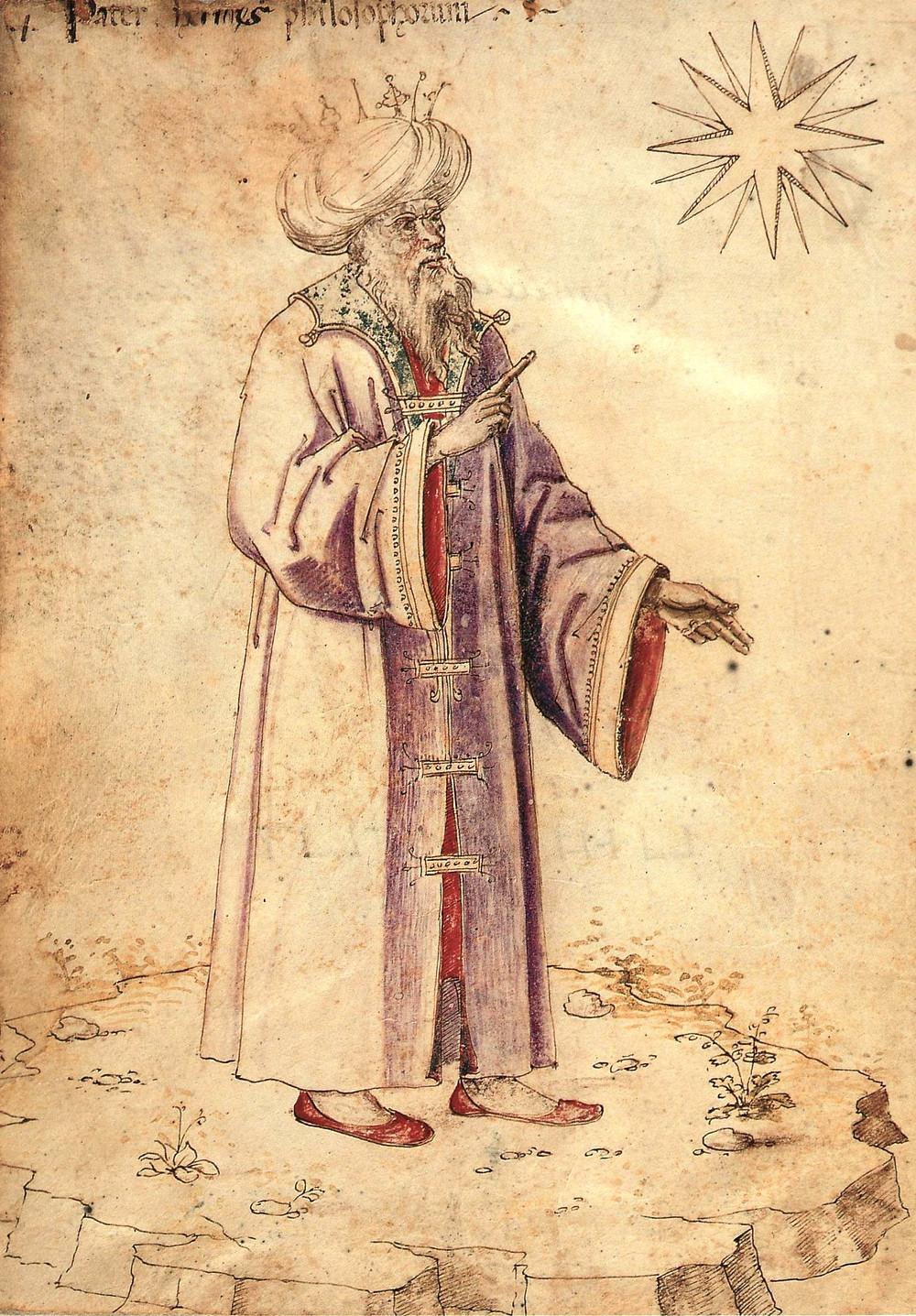 Pater Hermes philosophorum. Hermes Trismegistus utilizando um turbante árabe e ostentando uma coroa. Publicada aproximadamente durante o ano de 1475 em um manuscrito alquímico que se encontra armazenado na Biblioteca Medicea Laurenziana, em Florença.