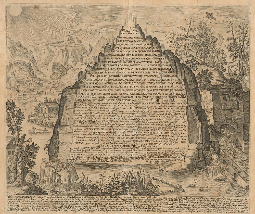 Imagem da Tábua de Esmeralda encontrada no Amphitheatrvm Sapientiae Aeternae, de Heinrich Khunrath.