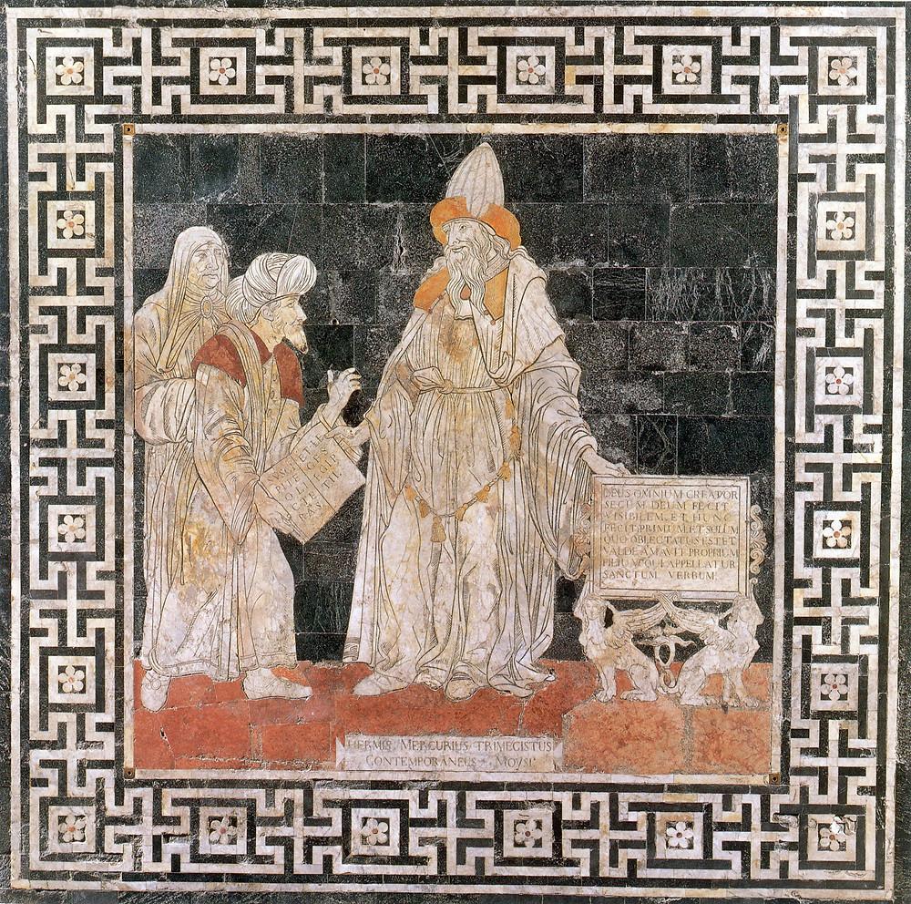 Hermis Mercurius Trimegistus Contemporaneus Moysi. Imagem encontrada no assoalho da Catedral de Siena.