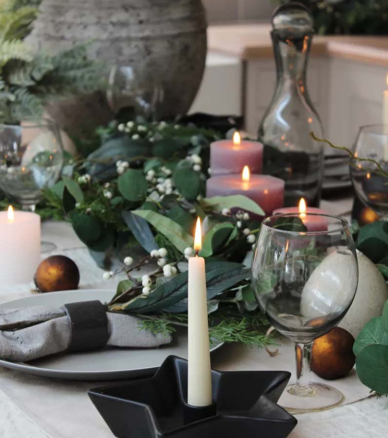 Greys and blacks with natural garlands for this year's Christmas table