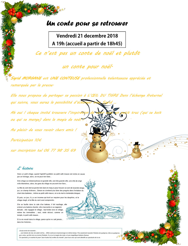 Ce n'est pas un conte de Noël, mais plutôt un conte pour Noël...Sigrid Morgane, conteuse de talent nous propose une de ses créations pour nous mettre dans l'esprit de Noël avec le coeur!