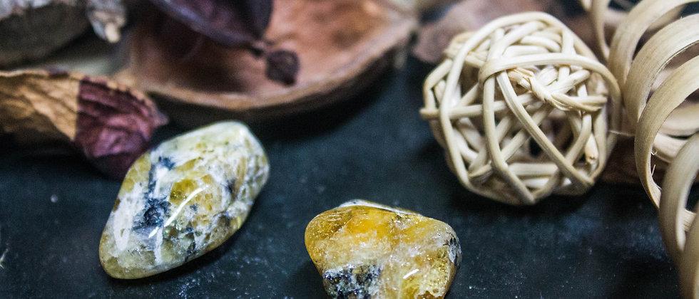 héliodore, pierre roulée, pierre semi précieuse, gemme, leanne ingouff, lithothérapie, saint laurent du pont, oeil du tigre