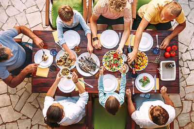 Big family have a dinner with fresh cook