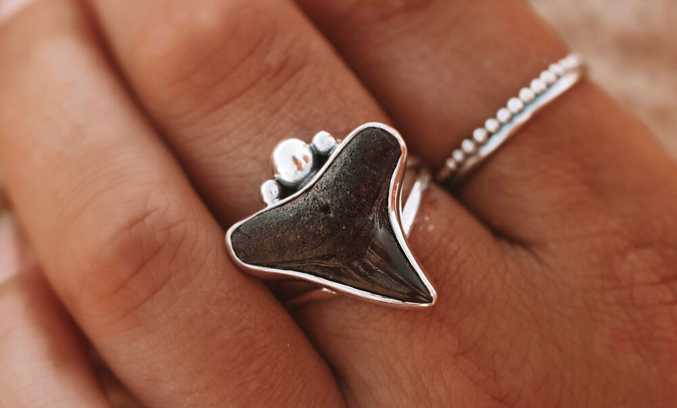 MAHLOE - FOSSILISED SHARK TOOTH RING