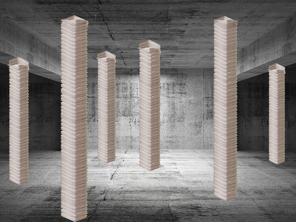 Waiting for Godot#the workers (Pillars of a life), stuffed tissues forming pillars (collage showing the outcome of the installation)