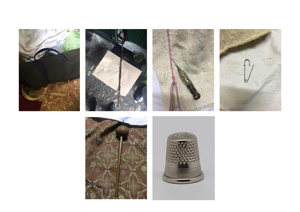 the tools in order:hook,pipe, cutter, pin,spindle,thimble