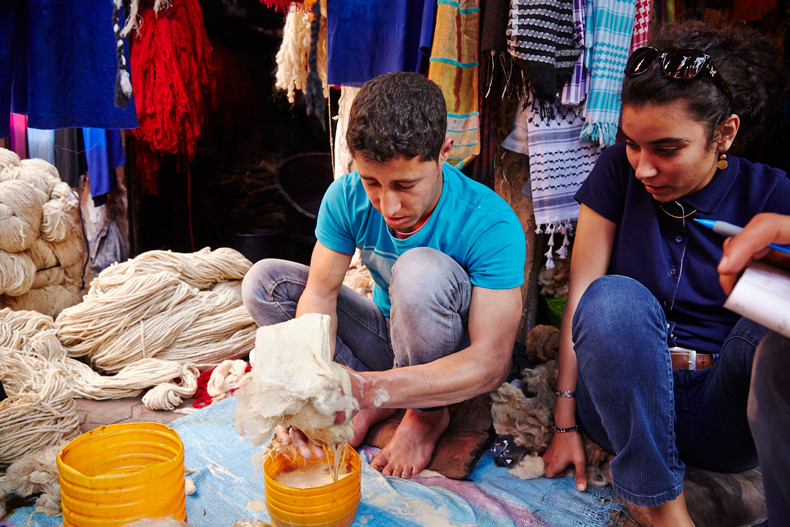 During the residency, working with the wool craftman               (photo credit:Simon Mills,2013)
