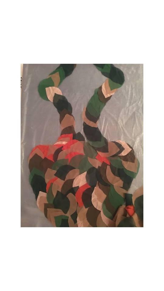 Layering with fabric Habiba motif, 2019