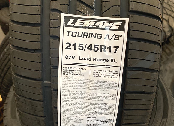 4 new tires 215/45R17 Lemans touring A/S