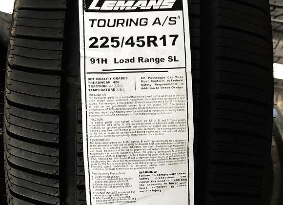 4 New tire 225/45r17  Lemans touring all season