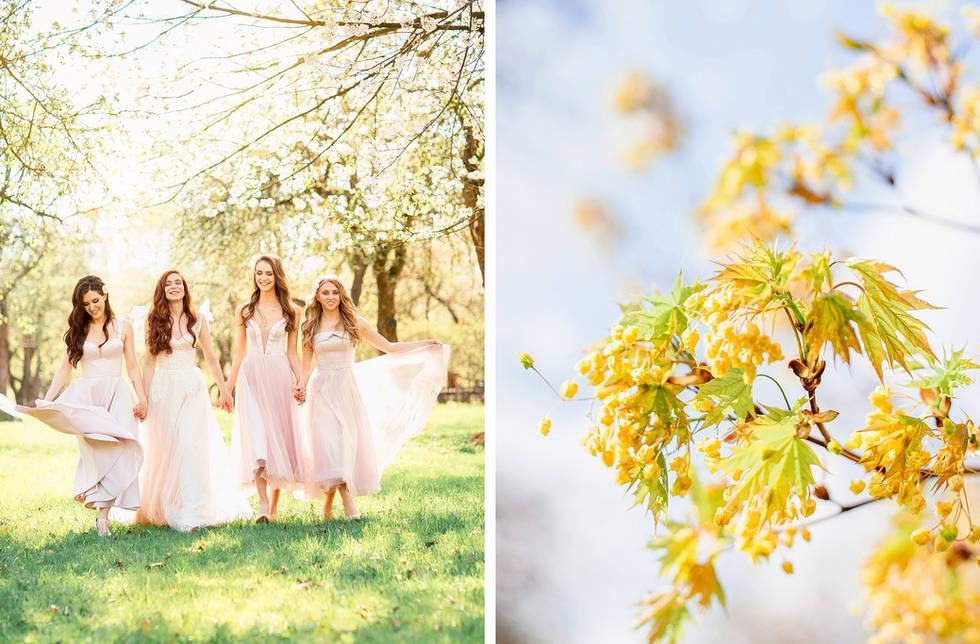 прогулка невесты в весеннем саду