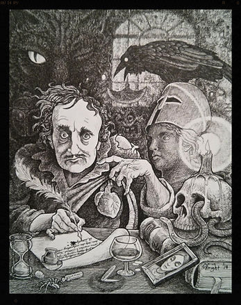 Edgar Allen Poe at work by Deran Wright