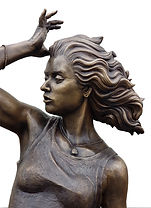 A Blustery Day bronze sculpture by Deran wright