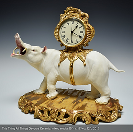 Sculptural Ceramic Clock by Ariel Bowman