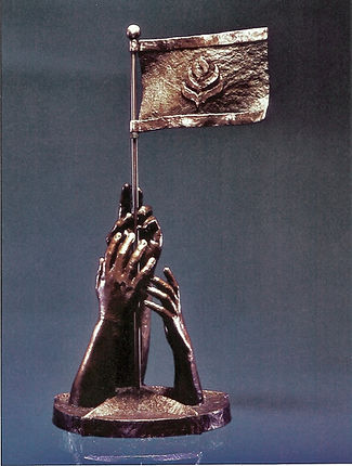 Bronze sculpture 'Reaching for learning and Liberty' by Deran Wright