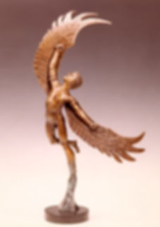 Icarus ascending, a bronze sculpture by Deran wright