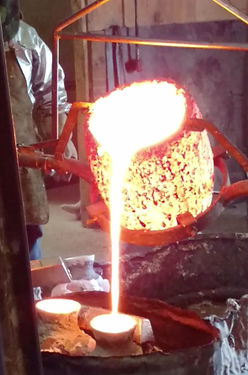 Bronze pour at the foundry