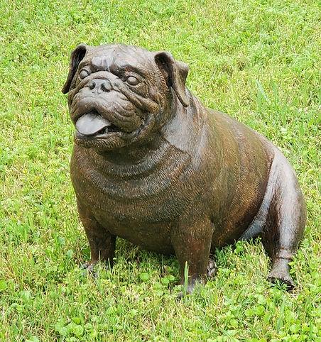 Bronze bulldog sculpture by Deran Wright