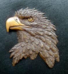 Eagle Head bas-relief in bronze by Deran Wright