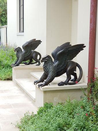 Bronze gryphon sculptures
