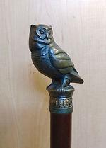 A bronze Owl cane head
