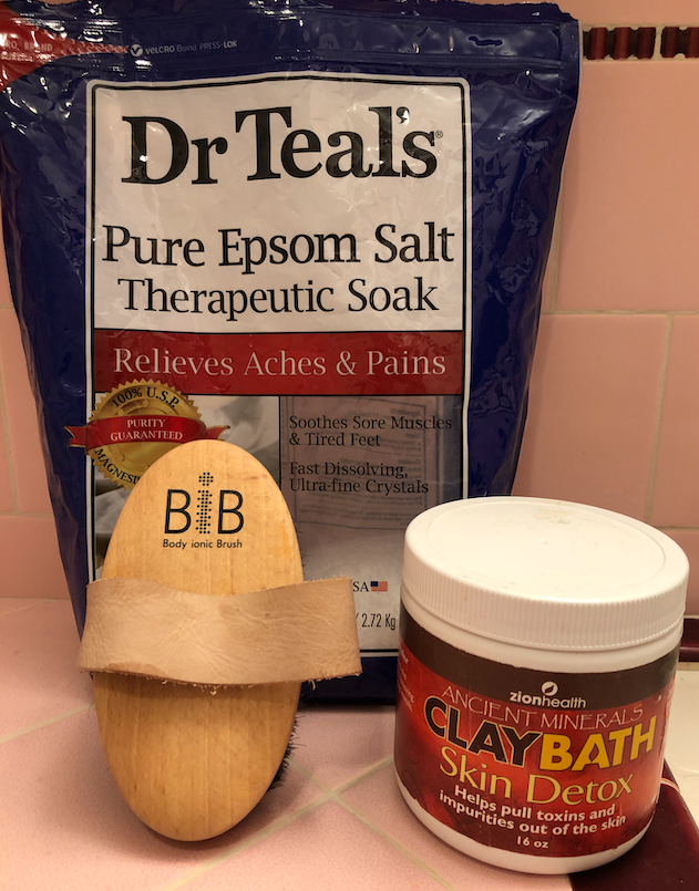 Epsom Salts, dry brush, and clay bath