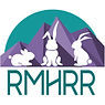 The RMHRR Logo -- three white bunnies with a purple and blue mountain backdrop