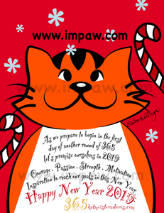 I M PAW Kiki cat webcomics 2019 Happy New Year Day 1 of 365 days daily art challenge smiling cat looking at falling snowflakes in winter digital art illustration by Katmeister Adores Elaine-Kaitlyn Wong