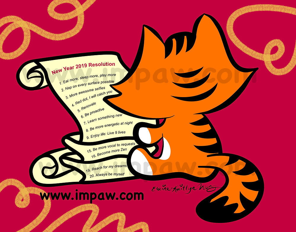 I M PAW Kiki cat webcomics 2019 New Year Resolution List Day 2 of 365 days daily art challenge cat thinking, checking and writing to-do list for the new year digital art illustration by Katmeister Adores Elaine-Kaitlyn Wong